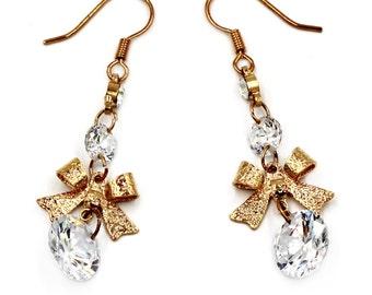 Fashion pendant bow crystal earrings
