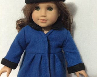 American girl doll clothes 18 inch doll clothing Royal blue doll Coat and Beret