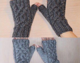 Womens knit fingerless gloves with circular cable design