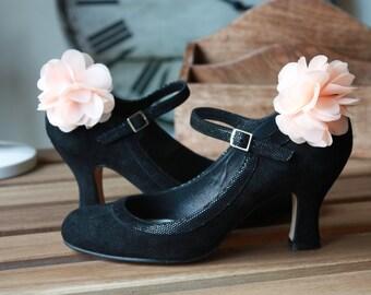 Shoe Clips Chiffon Flowers in salmon pink muslin, Wedding Shoe Clips, Bridal Shoe Clips, Shoe Clips for Wedding Shoes, Bridal Shoes, Womens