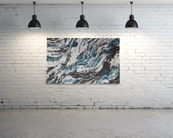 """HUGE ORIGINAL Painting - """"Glacial"""" - abstract acrylic painting - experimental - inventive techniques"""