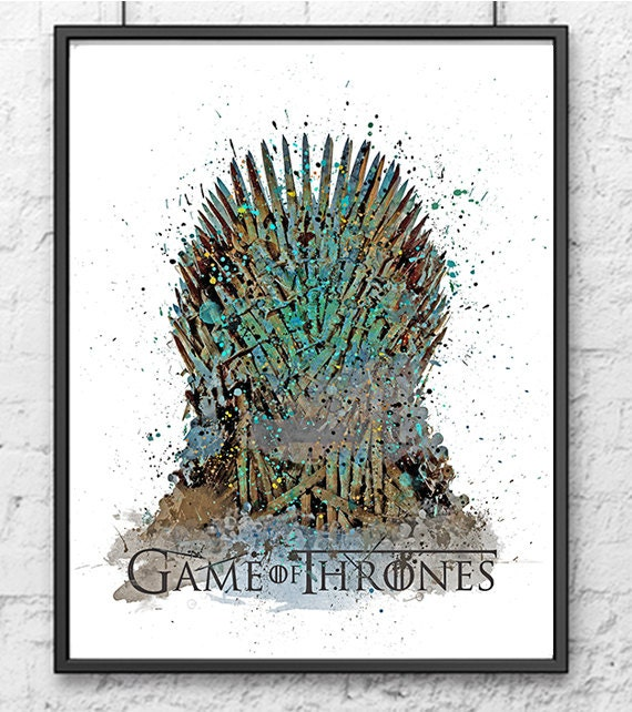 Iron throne watercolor poster game of thrones by gingerkidsart for Iron throne painting