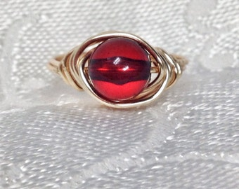 Red Gold Beaded Wire Wrapped Ring