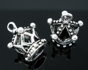 20 Silver Tone Crown Charm Pendants 18x14mm
