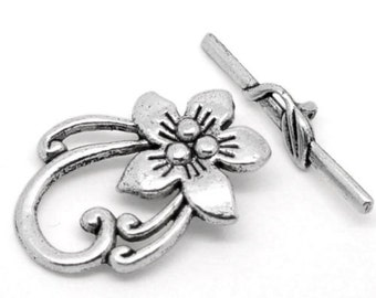 10Sets Silver Tone Easter Lily Toggle Clasps 20*30mm