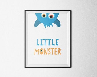 Little Monster Art, Baby boy nursery Art Print, Printable Wall Art, Monster nursery print, Boys Wall Art, Blue nursery Print, monster print
