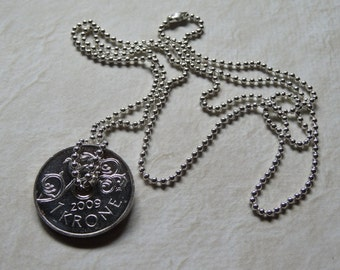 Norwegian 1 Krone coin pendant necklace