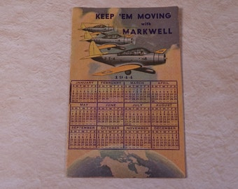 1944 Calendar with World Map Markwell Staplers