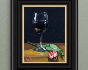 Wine and Tulip Original Oil Painting Still Life by Aleksey Vaynshteyn