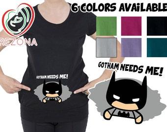 Gotham needs me! Funny preganancy maternity tshirt with Peeking Out Batman. Marvel Comics Super Hero.