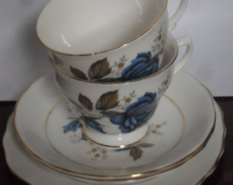 Dorchester blue roses afternoon tea for two set: Two lovely vintage bone china teacups with saucers and cake plates!
