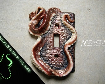Glow in the Dark Octopus Tentacle Light Switch Cover sculpture wall home decor housewares grunge polymer clay handmade metallic ooak plate