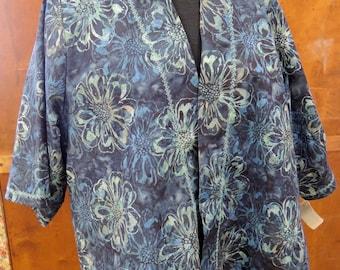 A Little Somethin' Jacket Blazer Cotton - Size 14 - Blue Flowers Floral
