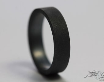 Matte Black Ring, 5mm Flat Band, Matte Band, Oxidized Sterling Silver Ring, Black Silver Ring, Black Sterling Silver Ring, Oxidized Ring