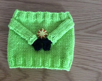 Handknitted novelty bottle cosy in lime green