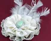 Valentine Gift Flower Package Topper, Lace, Satin, Beads, Feathers, Stunning Touch to Special Gift (S) (HC)