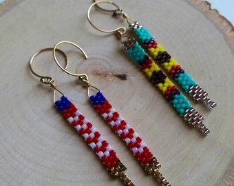 Peyote Stitch Earrings // Beaded Earrings // Tribal Jewelry // Boho Earrings