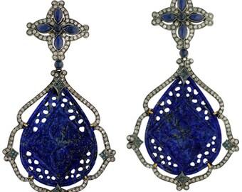 Blue Sapphire & Lapis Gemstone Dangle Carved Earrings Jewelry, Diamond Trendy Fashion Party Wear Earrings Jewelry,Victorian Diamond Jewelry