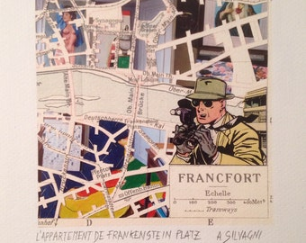 City Map - Frankfurt - Paper Cut - Collage - Hand Made
