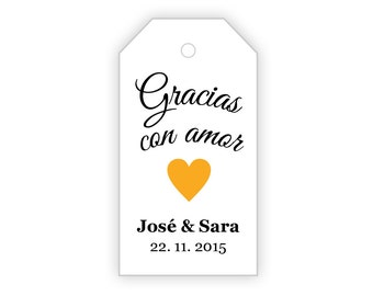 Gracias Con Amor Custom Tags ~ SMALL ~ DIY Printable Favor Tags ~ Gift Tags ~ Wedding Tags