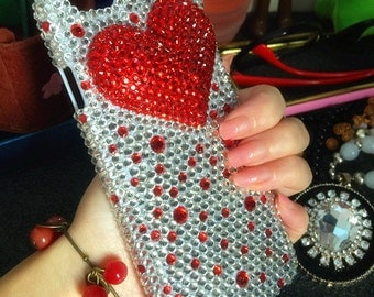 Bling Sparkles Girly 3D Stylish Heart Assorted Red Silver Gems Crystals Rhinestones Diamonds Fashion Lovely Hard Cover Case for Mobile Phone
