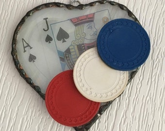 Poker Chip & Blackjack Heart Shaped Suncatcher