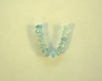 """Blue aquamarine faceted rondelle beads AAA+  5mm 2"""" strand"""