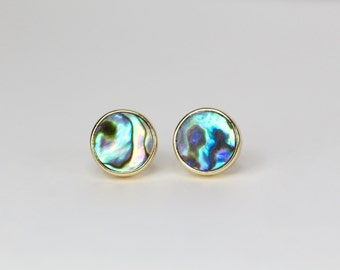 abalone stud earring abalone post earring Abalone shell earring simple modern elegant earring gifts for her 8MM mothers day gift  mom gift