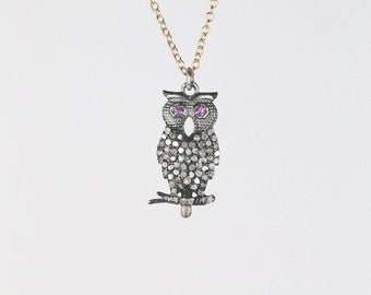 diamond owl necklace pave diamond owl with ruby eyes owl charm necklace valentine gift for her unique gift oxidized silver