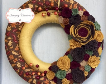Fabric and Yarn Wrapped Fall Double Wreath