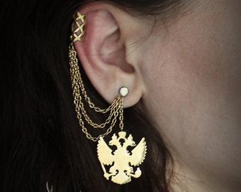 "Earring - Ear Cuff ""Russia"" - coat of arms, jewelery art, style."