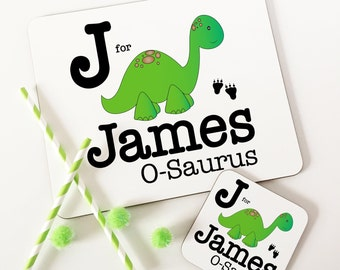 Personalised boy Dinosaur Wooden Glossy Placemat & Coaster Set gifts for children FREE POSTAGE