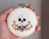 Small Skull and Floral Hand Embroidery