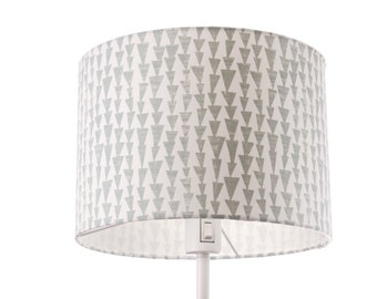 SAMPLE SALE - Large lamp shade grey white geometric pattern green, floor drum lampshade, 30 cm x 21 cm, large, lamp shade