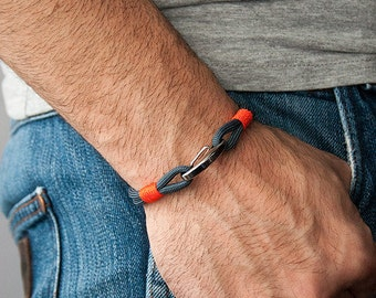 Sailor Bracelet men-Women, men's jewelry for women, navy-neon orange bracelet, Christmas gift, bracelet for her and him
