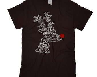 Wordy Reindeer Chocolate Christmas T-shirt Was 16.65 NOW 9.97