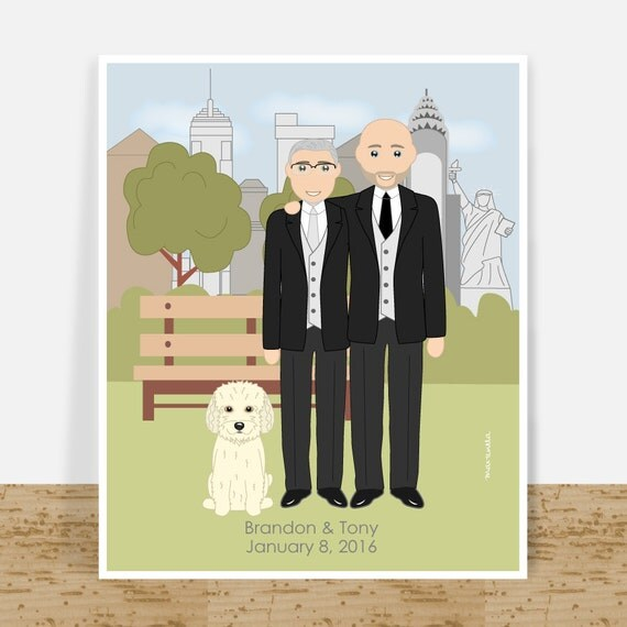 Wedding Presents For Gay Couples : Tasteful custom gay portrait, gay couple wedding gift, printable wall ...