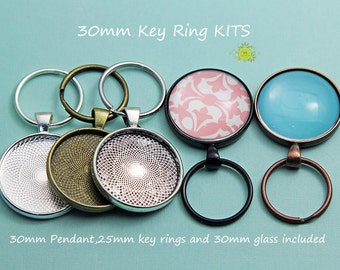 10 Photo Keychain Kits-Complete Pendant Kit-30mm Circle pendant Trays Bezel Settings-25mm Split Rings-30mm domed glass cabochon Included
