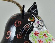 Cat Folk Art-  Black and White Cat- Cat Lover- Gift for Cat lover- Kitty Collector-  Humorous Gifts- Cat nose