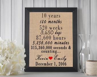 10 Year Anniversary Gift // 10 Year Anniversary Sign // 10 Year Anniversary For Her // 10th Anniversary Gift // 10th Wedding Anniversary