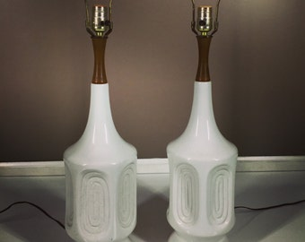 A Pair Mid Century Modern White Glazed Lamps