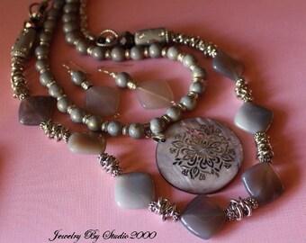 Grey Gemstone Necklace Set