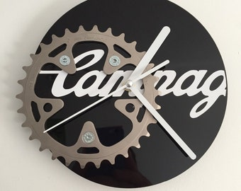 Campagnolo Small Chainring Clock on a Black Face with a White Decal & White Hands