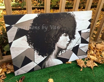 """Natural Hair Art """"Geometric Curls"""" (Canvas Print, 28x20"""")"""