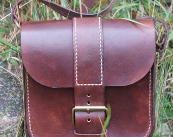 Leather Cross Body Bag, leather messenger bag, handstitched leather bag, leather shoulder bag