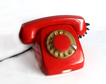 Red Vintage Rotary Phone from 80s