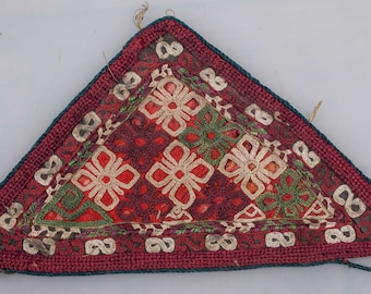 "Vintage TURKMENISTAN Chodor AMULET Child's Embroidered Talisman 8""x4.5""/19x11 cm FREE Shipping Item No. E-89"