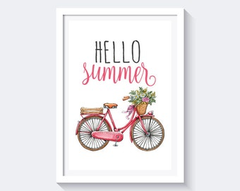 Hello Summer Print / Floral Bicycle Print / Bicycle Wall Art / Bicycle Art / Summer Printable Instant Digital Download