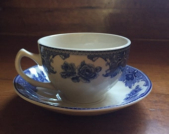 Blue & White Tea Cup with Saucer