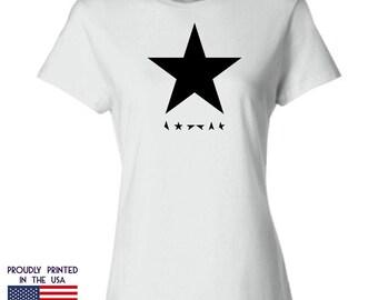 David Bowie Blackstar Tribute Womans white Tshirt Ttd3